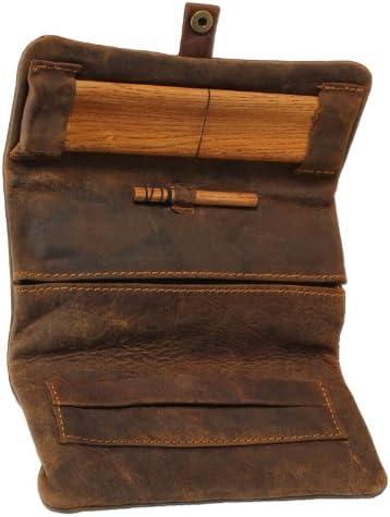 Original Kavatza - Estuche para tabaco Havana, bolsa de tabaco, de piel suave, con tablilla y prensador de madera antigua, estuche plegable P17: Amazon.es: Jardín