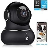 Indoor Security Camera, Littlelf 1080P Home WiFi Wireless IP Camera for Pet/Baby Monitor with Motion Tracking, 2-Way Audio, Night Vision Cloud (Black)