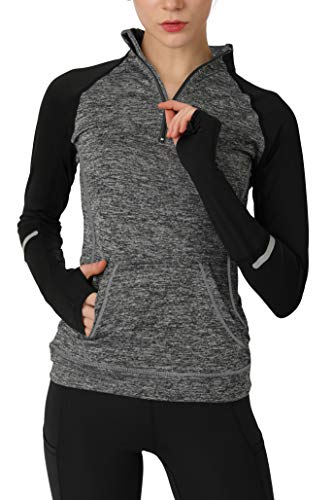 Women's Yoga Long Sleeves Half Zip Sweatshirt Girl Athletic Workout Running Jacket gy m ()