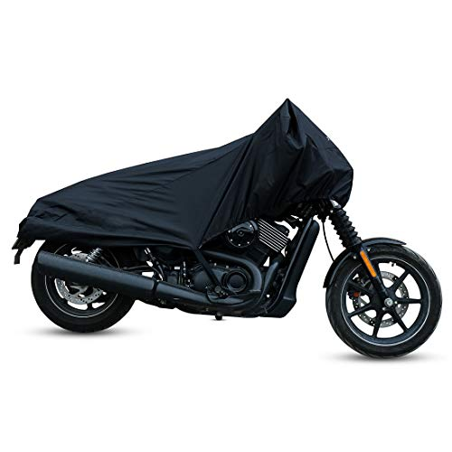 (X AUTOHAUX Motorcycle Cover Street Bike Scooter Lightweight Half Cover Outdoor Waterproof Rain Dust UV Protector Black Size M for Honda Kawasaki Yamaha Suzuki Harley Davidson)