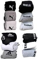 Ramptel branded Combo Offer Of 12 Pairs puma, adidas, reebok nike Logo Sports Ankle Length Socks