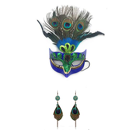 Woman Female Masquerade Masks Luxury Peacock Feathers Half Face Mask Party Cosplay Costume Halloween Venetian Mask Blue]()