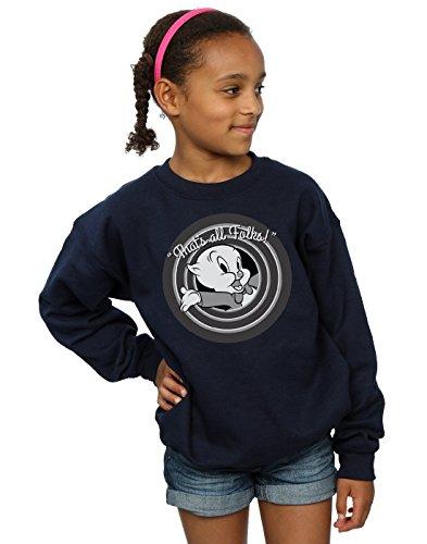 Looney Tunes Girls Porky Pig That's All Folks Sweatshirt 5-6 Years Navy Blue