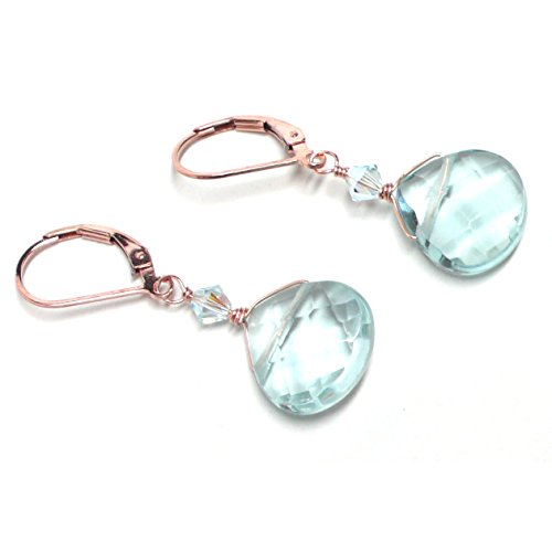 Lab Grown Aqua Quartz 12x12 Briolette Lever Back Earrings Swarovski Crystal Rose Gold-Filled