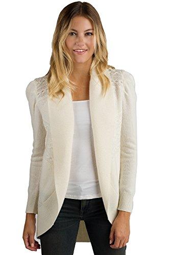 JENNIE LIU Women's 100% Pure Cashmere Long Sleeve Celine Cable-Knit Open Cardigan - Price Uk Celine
