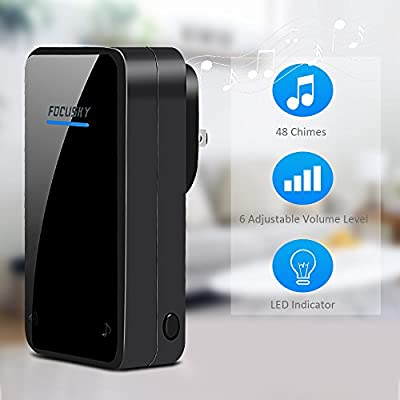 Wireless Doorbell,1 Plug In Receiver Chimes +1 Waterproof Transmitter Button-Door Chime Kit with 1000ft/300m Operating Range -48 Different Ringtones -Adjustable Volume