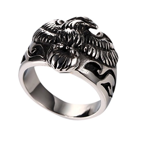 Vintage Punk Rock Flying Eagle Stainless Steel Biker Ring Size 7-13