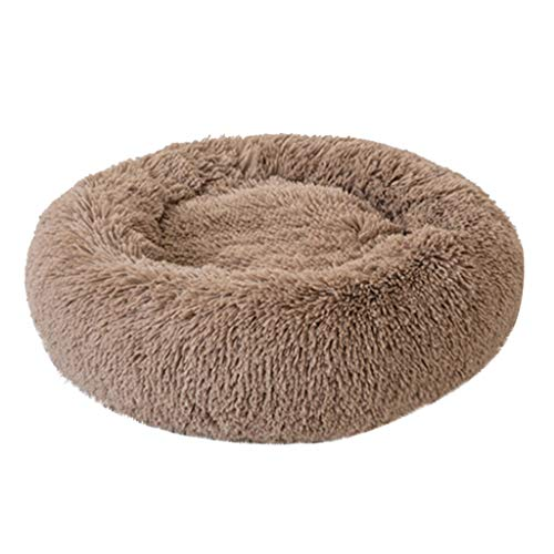Luxury Bed Dog Donut (Vegan Fur Donut Cat Bed - Full Velvet Elastic Pet Nest Comfortable Plush Kennel Dogs Pet Litter Deep Sleep PV Cat Litter Sleeping Bed For Large Small Dogs - Self Warming Indoor Round Pillow)