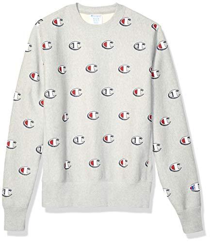 Champion LIFE Men's Reverse Weave Crew-Print, Scribble Logo Oxford Grey, - Print Oxfords T-shirt