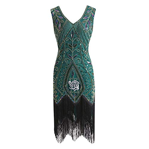 Women's 1920s Dress Sequin Art Deco Flapper Dress Gatsby Cocktail Vintage Flapper Fringe Beaded Party Dress Tank Dress -