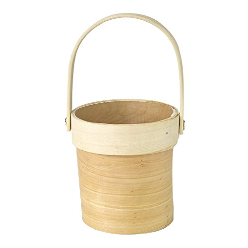 Time Concept Mercato Wood Plant Basket with Handle - Small - Natural Cream Color, Home Planter Décor