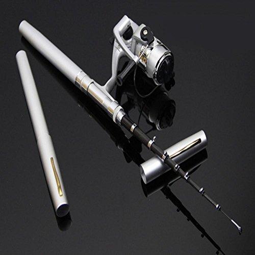 GZQ Mini Stift Angelrute mit Angelrolle Aluminiumlegierung Material, Länge: 1.4m red