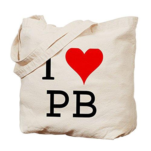 Cafepress–i Love Pb Tote bag–Borsa di tela naturale, tessuto in iuta