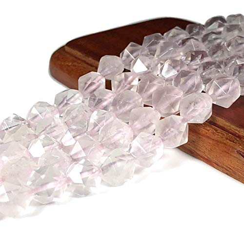 [ABCgems] Madagascan Rose Quartz 8mm Precision-Star-Cut Beads for Beading & Jewelry Making ()