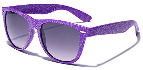 Colorful Wayfarer Retro Fashion Ladies Glitter Sunglasses - - Purple Wayfarer Sunglasses