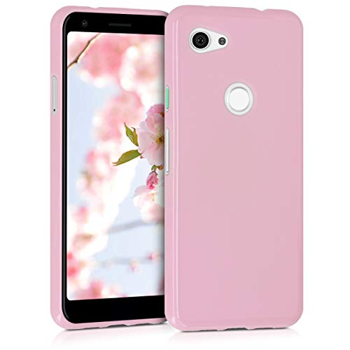 kwmobile TPU Silicone Case for Google Pixel 3a - Soft Flexible Shock Absorbent Protective Phone Cover - Dusty Pink