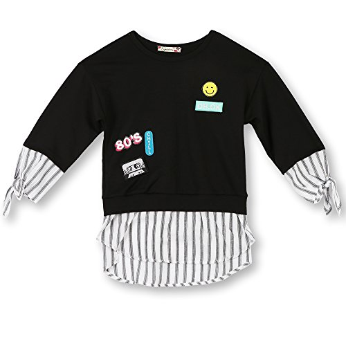 Speechless Big Girls' Top with Patches and Sequins, 80's Black Stripe, M