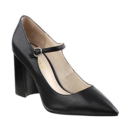 Color Block Genuine Leather - LANINI DE34 Women's Genuine Leather Block Heel Mary Jane Pumps Heels, Color:BLACK, Size:38 M EU