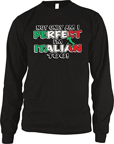 ly Am I Perfect, I'm Italian Too! Thermal Shirt, Black Medium ()