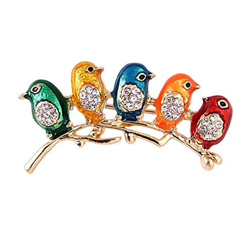 SOURBAN Crystal Colorful Birds Brooch Pin with Sparkly Rhinestones Animal Costume Jewelry Gift for -