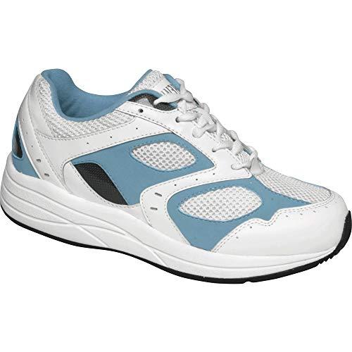 Drew Shoe Women's Flare, White/Blue Leather/White Mesh, 5 M (B)