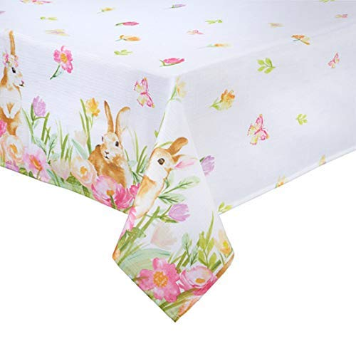 (Easter Tablecloth Bunny Playing and Tulip Print Easy-Care Fabric for Spring Dining (60 x 120 Rectangle))