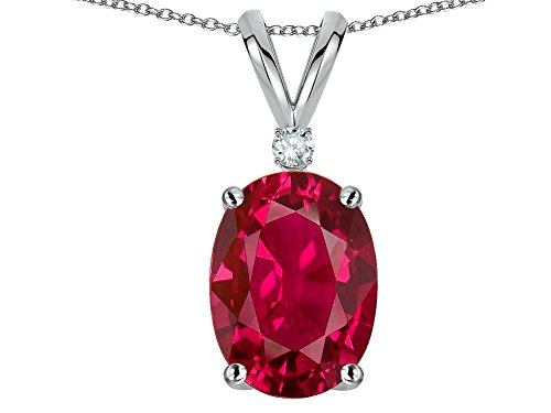 Star K Classic Single Oval 8x6mm Created Ruby Rabbit Ear Pendant Necklace 14 kt White Gold (Ruby Oval Gold Necklace)