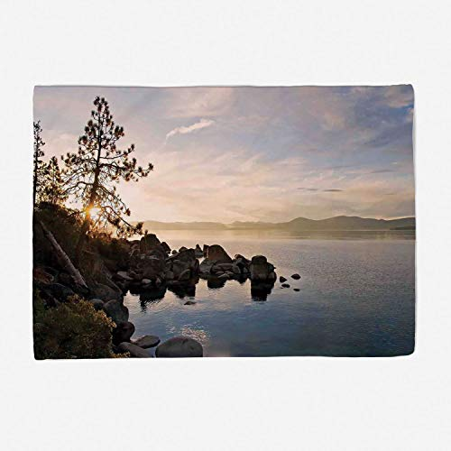 Blanket Custom Design Cozy Fleece Blanket Perfect for Couch Sofa or Bed/49x39 inches/Lake,Lake Tahoe at Sunset with Clear Sky and Single Pine Tree Rest Peaceful Weekend Photo,Blue ()