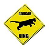 Cougar Crossing Metal Aluminum Novelty Sign 12 in x 12 in