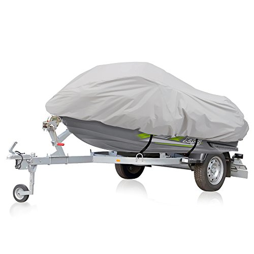 """(Pyle Marine Grade Polyester Jetski Cover - Size Supports 102"""" and Under - Heavy Duty Universal Trailer Storage Cover for Personal Watercraft - Waterproof Weather Resistant with Elastic Cord PCVJS10)"""
