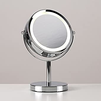 Modern Adjustable Silver Chrome Battery Operated Magnifying LED Bathroom  Make Up Cosmetic Shaving Vanity Mirror Light
