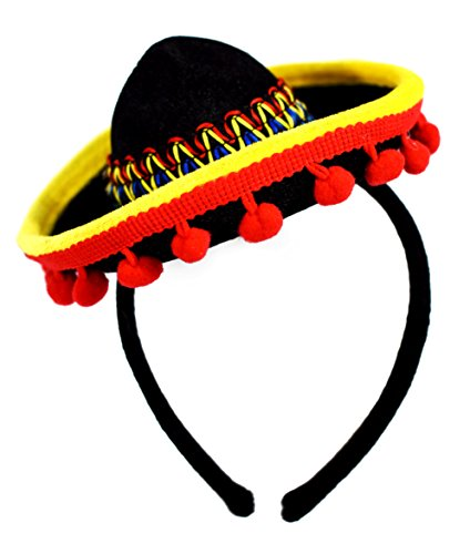 KINREX Cinco de Mayo Sombrero Headband - Mexican Fiesta Party Hat Decorations - Red Ball Fringe Mini Costume - One Size Fits All]()