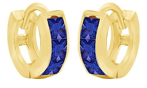 Princess Cut Simulated Blue Sapphire Huggies Hoop Earrings In 14K Yellow Gold Over Sterling Silver (0.6 Ct) 14k Yellow Gold Sapphire Hoop Earrings