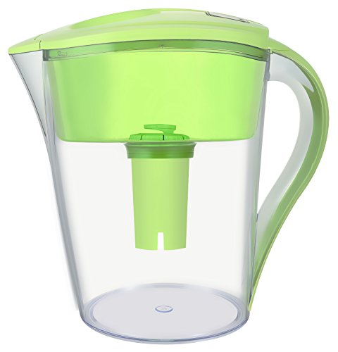 LeDoux Waters 10 Cup Water Pitcher Filters with 1 Filter, BPA Free, Ionizer, Pourer, Jug, Filter System (Green)
