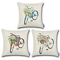 Carrie Home Blue White Red Three Colors Vintage Bicycle Throw Pillow Cover Flower Decorative Pillow Cushion Case for Bed Sofa Chair 18x18, 3 Pack
