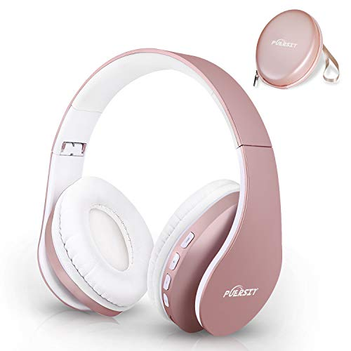 Bluetooth Headphones Wireless, Puersit Foldable and Light Weight Over Ear Headset Wireless and Wired Headphones with Microphone for iPhone Samsung TV PC Laptop Rose Gold