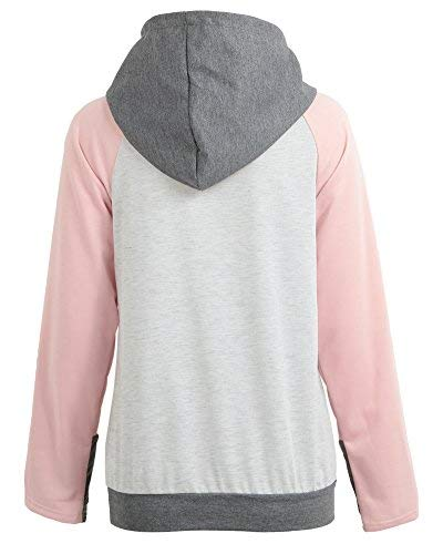 Romacci Women's Hooded Sweatshirt Floral Print Colorblock Striped Side Zipper Pocket Pullover Tops with Thumb Holes