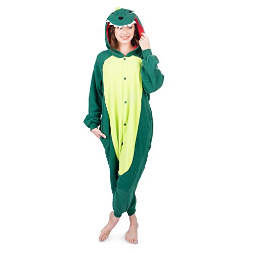 Dinosaur Costumes Women (Adult Animal Dinosaur Onesie Sleepwear Pajamas Kigurumi Cosplay Costume Fun Loungewear for Men Women Teens Ultra Plush with Hood (Medium))