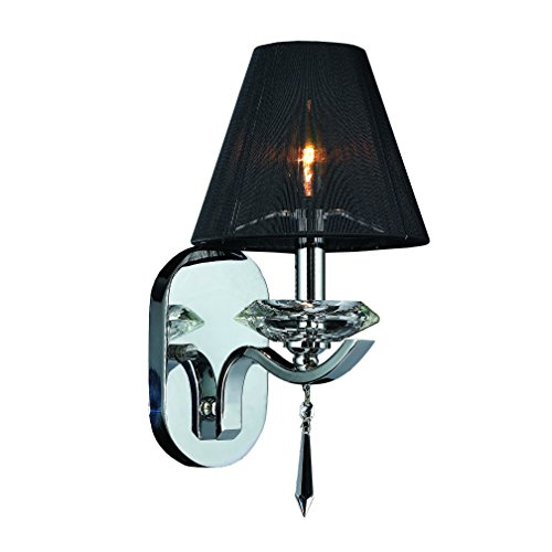 Worldwide Lighting W23133C7 Gatsby 1 Light Clear Crystal Wall Sconce Light with Black String Shade, Polished Chrome