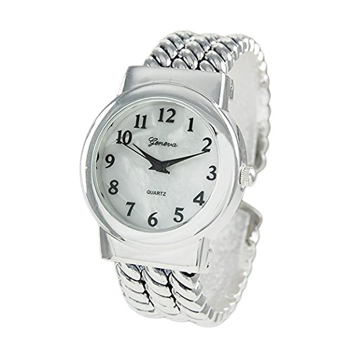 Silver Urban Racks (Rosemarie Collections Women's Mother of Pearl Rope Bracelet Cuff Watch (Silver))