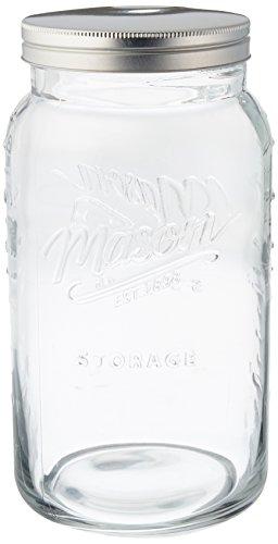Grant Howard Jumbo Mason Embossed Glass Storage Jar, 136 oz, (136 Glasses)