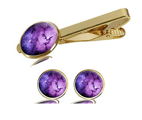 (LCTCKP Image Custom Fashion Men's Initial Shirt Cufflinks Tie Clips Formal Wedding Jewellery Set - Gold (Nebula Galaxy Purple))