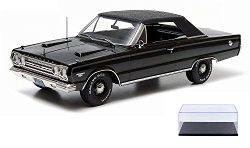 Diecast Car & Display Case Package - 1967 Plymouth Belvedere GTX Convertible, Black - Greenlight 19007 - 1/18 Scale Diecast Model Toy Car w/Display Case -