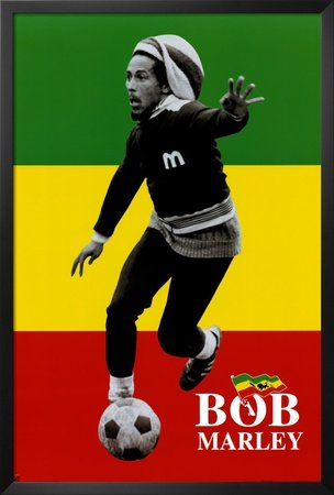 - Professionally Framed Bob Marley (Soccer) Music Poster Print - 24x36 with Solid Black Wood Frame
