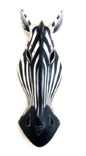 African Mask Wall Hanging Zebra Giraffe Wall Mask Jungle Decor, LARGE 20