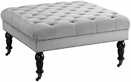 Linon Isabelle Square Wood Upholstered Ottoman in Light Gray