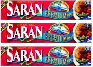 Saran Premium Plastic Wrap, 100 Sq Ft 3 Pack