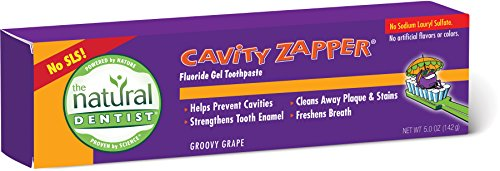 The Natural Dentist Plaque Zapper Fluoride-Free Gel Toothpaste, Groovy Grape, 5.0 Ounce