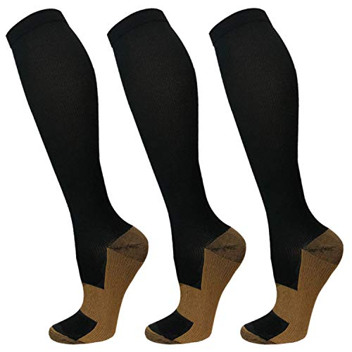 Copper Compression Socks For Men & Women-3 Pairs,15-30mmHg is Best For Running,Athletic,Medical,Pregnancy and Travel(S/M)