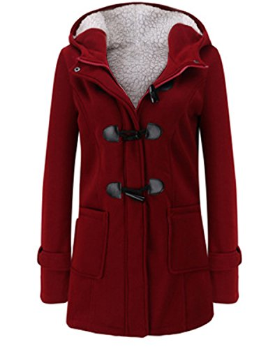 Annystore Womens Duffle Toggle Coat Long Wool Blended Hooded Pea Coat Jacket With Pockets Red L -